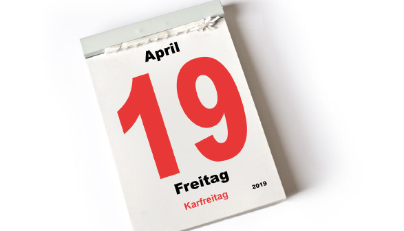 Kalenderblatt 19. April 2019 - Karfreitag © Michael Möller, stock.adobe.com