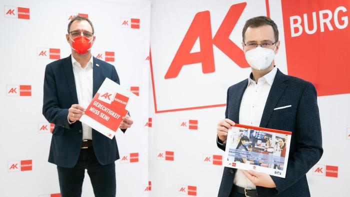 AK-Präsident Gerhard Michalitsch und Arbeitsklima-Projektleiter Dr. Reinhard Raml © Felder, AK Burgenland