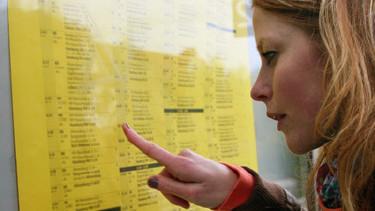 Bahnkundin liest den Fahrplan © Claudia Nagel, Fotolia