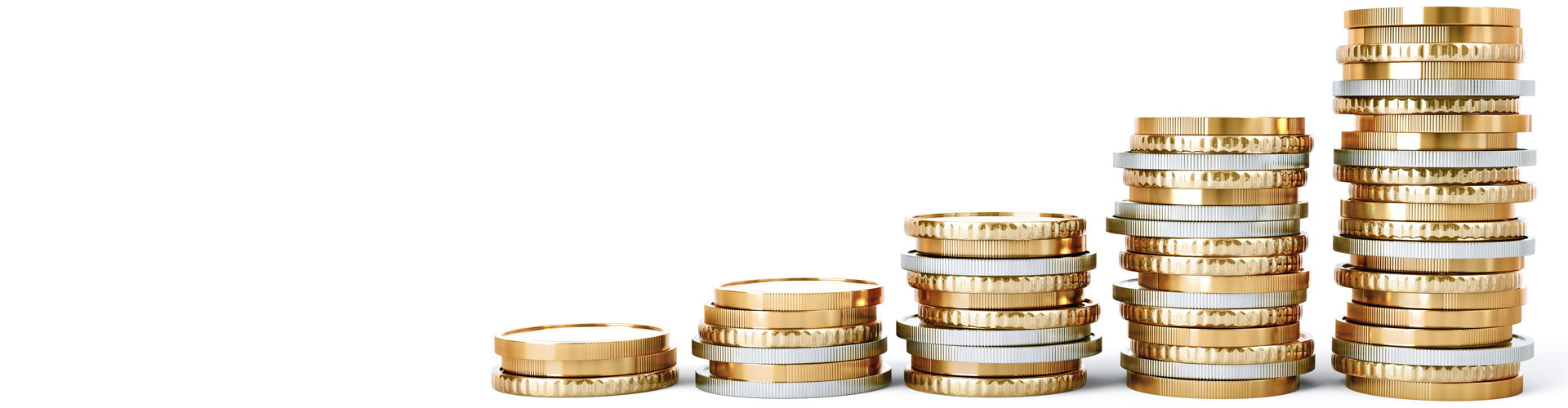 Fünf Münzstapel liegen vor weißem Hintergrund nebeneinander, sie werden nach rechts hin höher. © electriceye, stock.adobe.com