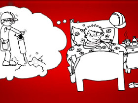 Comic: Ein Mann liegt Krank im Bett © News on Video, News on Video