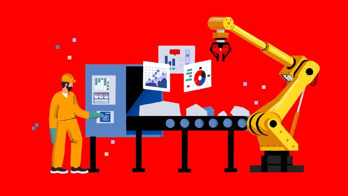 Ein Mann bedient eine Industrie-Fertigungsmaschine. Ein Roboter hilft bei der Arbeit. Datensätze schwirren durch das Bild. © Very Nice Studio