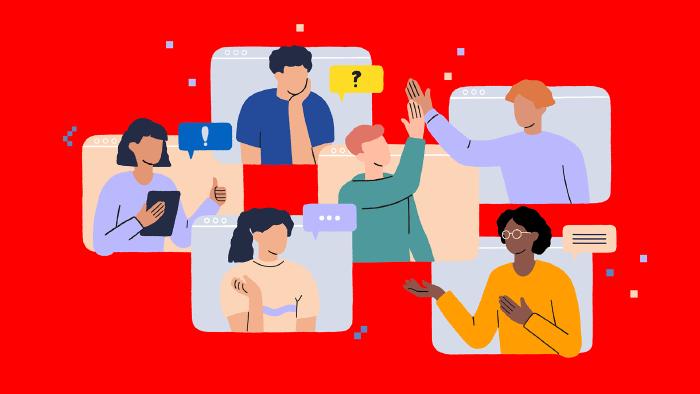 6 Menschen arbeiten über verschiedene Screens zusammen. Sie tauschen sich aus, beraten sich, klären Fragen und kommen gemeinsam auch im digitalen Raum zu demokratischen Entscheidungen. © Very Nice Studio