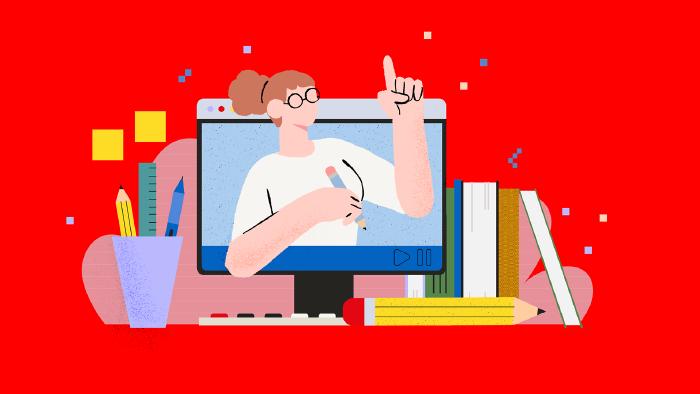 Eine weiße Frau mit Bleistift erklärt aus einem PC-Bildschirm heraus Zusammenhänge. In ihrer Hand hält sie einen Bleistift. Rund um den PC stehen Bücher, eine Tastatur, Stifte und anderes Bürozubehör © Very Nice Studio